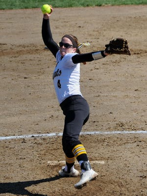 Paint Valley's Mikayla Newland pitches against Vinton County last spring. Newland has signed to play softball at the University of Akron, a Division I college.