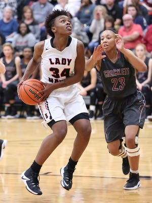South Side's Tamia Curry goes up for a shot against Crockett County in the Region 7-AA semifinals.