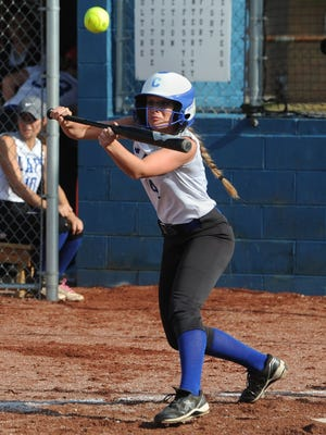 Chillicothe's Tori Bettendorf tries to bunt her way on base during last season's tournament contest against Waverly.