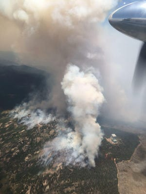 The Frye fire burns on the north side of Mt. Graham near Safford, Ariz. Montana-based firefighters have been dispatched to other states including Arizona to assist.