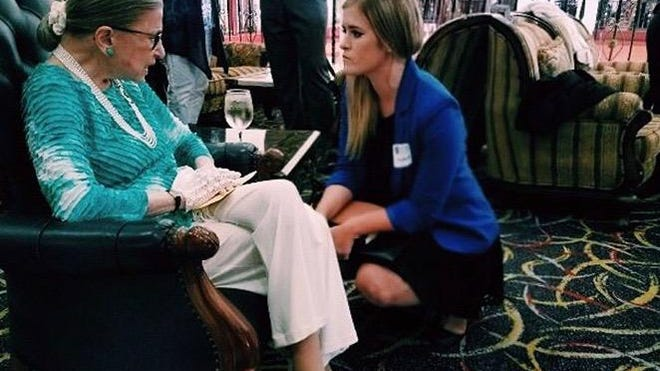 Jessica Revils met with Justice Ruth Bader Ginsburg in Malta in 2017.