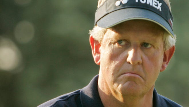 FILE - In this June 18, 2006, file photo, Colin Montgomerie, of Scotland, reacts after finishing the final round of the U.S. Open at Winged Foot Golf Club in Mamaroneck, N.Y. One of the best players to never win a major, the U.S. Open should have been Montgomerie's best chance. (AP Photo/Chuck Burton)