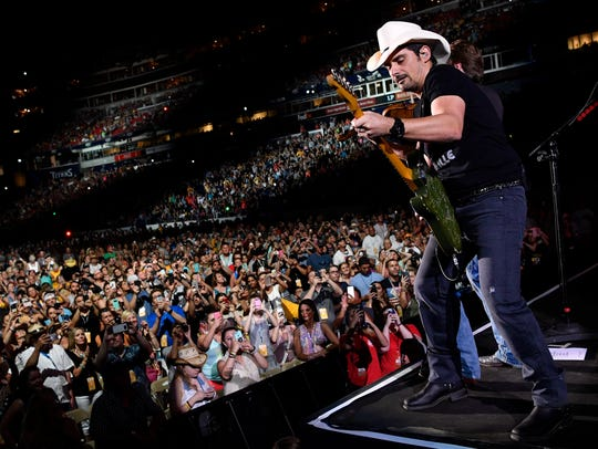 Brad Paisley performs at Nissan Stadium on June 11,