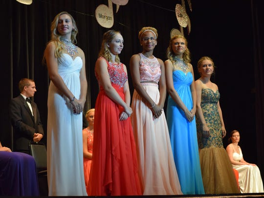 The top five Miss Holly City contestants, from left,