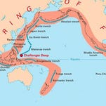 The infamous Ring of Fire ranges all the way around the Pacific Ocean from New Zealand to South America.