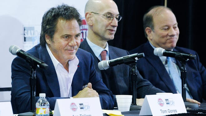 From left, Detroit Pistons owner Tom Gores, along with  NBA Commissioner Adam Silver and Detroit Mayor Mike Duggan answer questions during a news conference Monday for S.A.Y. Detroit.
