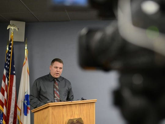 Lt. Jeff Brester addresses the press for the Green Bay Police Department.