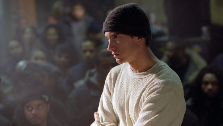 """In a scene from """"8 Mile,"""" Jimmy (Eminem) stares down"""