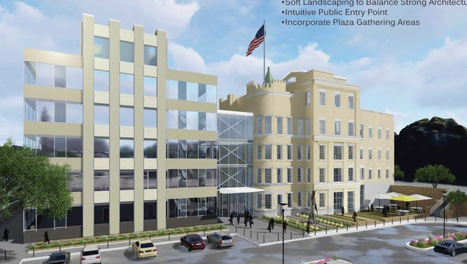 Kenton County Fiscal Court's planned $24.98 million administration building includes an office building, left, and a preserved portion of the Bavarian Brewery complex, right.