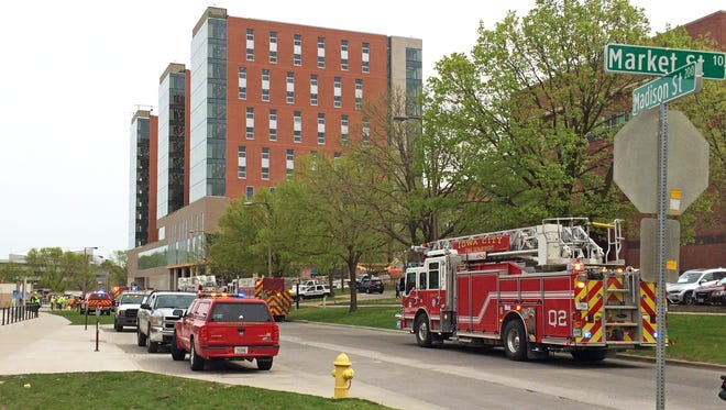 Public safety officials responded to a gas leak near the University of Iowa's new Catlett Hall around 10 a.m. May 3, 2017.