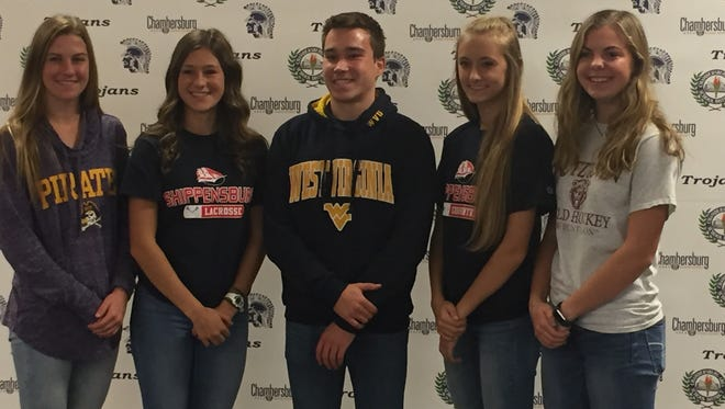 From L to R: Abby Yourkavitch, Hannah Raines, Nick Cover, Kaylee Mowery and Rachel Dusman all signed letters of intent on Wednesday.