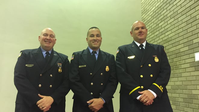 Three Vineland firefighters were promoted Nov. 8 in a City Hall ceremony: (l to r) Lt. Terrence McManus, Lt. Michael Feaster and Capt. John Hendershott.