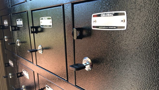 Twenty-four small lockers for cell phones have been installed at the Wayne County Courthouse entrance.
