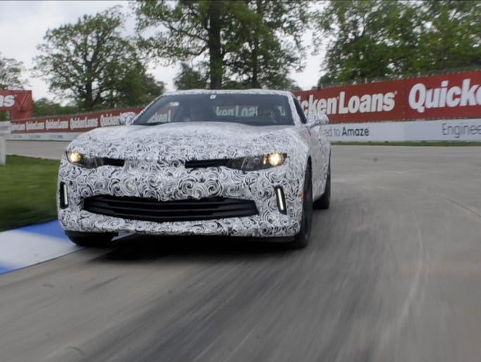 The 2016 Camaro mule car takes a corner, Sunday May