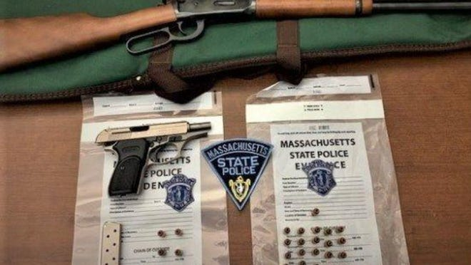 State police released this photo of items found during a traffic stop on the Massachusetts Turnpike in Weston on Thursday.