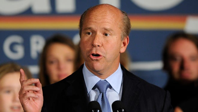 In this Nov. 6, 2012, file photo, John Delaney speaks at an election night party in Potomac, Md.