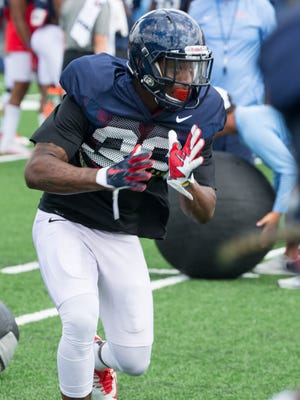 Sophomore Zedrick Woods goes through drills during Ole Miss' preseason camp. He appears set to start this season at free safety after playing behind several veterans last year.