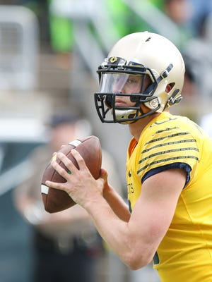 Quarterback Dakota Prukop warms up for the Ducks spring game on Saturday, April 30, 2016, at Autzen Stadium in Eugene, Ore.