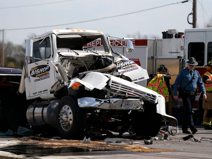 A crash involving two semitrailers on westbound Highway