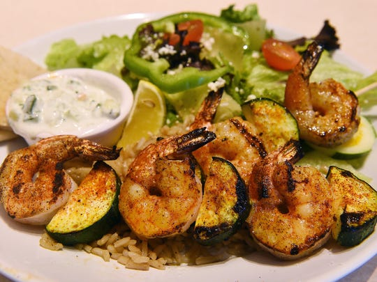 The shrimp kabob entree at Zoes Kitchen.
