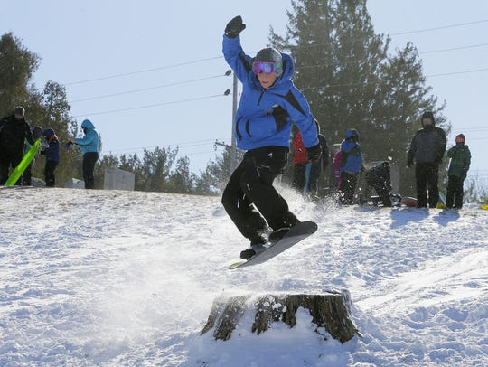 """Ben Patterson, 13, of Spring Lake jumps """"The Stump"""""""