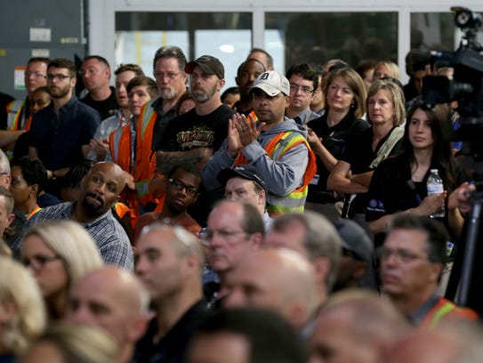Orion Assembly Plant workers listen to GM Chairwoman