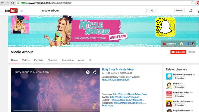 Nicole Arbour's page has been reinstated, as of this screen shot from Sept. 7.