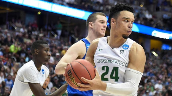 March 24, 2016; Anaheim, CA, USA; Oregon Ducks forward Dillon Brooks (24) grabs a rebound against Duke Blue Devils during the second half of the semifinal game in the West regional of the NCAA Tournament at Honda Center. Mandatory Credit: Richard Mackson-USA TODAY Sports