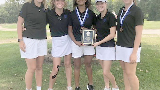 The Boonville Lady Pirates golf team captured the championship in the California Invitational Tournament Tuesday at California Country Club. The Lady Pirates finished 12 strokes ahead of second place finishers Blair Oaks and Osage 350-362. Boonville also had two medalists in the top 10.