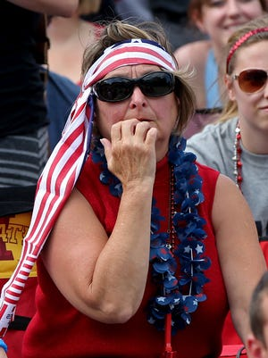 Jan Stipe, of Norwalk, watches the closing minutes as the USA plays Belgium during World Cup action as fans gather at the Keg Stand Bar in West Des Moines on Tuesday.