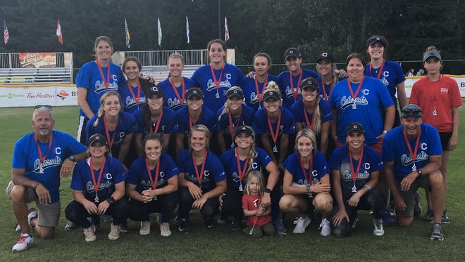 Triple Crown Colorado placed second in the Canada Cup International Softball Championship at Surrey, B.C., in July. The team lost to the Canadian Women's National Softball Team in the title game. Pictured are team members front row from left coach Elliott Finkelstein, Aubrey Leach, Haley Donaldson, Reagan Dykes, Berkley Calapp, Tully King, Bree Boruff, Riley Sartain and coach Dave King. Middle row, Chelsea King, Amber Serrett, Preslee Gallaway, Kelbi Fortenberry, Kaitlin Lee, Morgan Turkoly and coach Kelly Berry. Back row coach Stephanie Klaviter, Kaylan Jablonski, Ashley Walters, Nickie Blue, Kaylea Snaer, Ellen Renfroe Reed, Jenna Jordan, Trinity Harringtonand Emma Jackson.