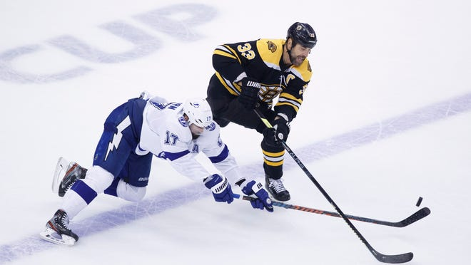 Boston Bruins defenseman Zdeno Chara (33) handles the puck away from Tampa Bay Lightning center Alex Killorn (17) during the third period of an NHL hockey Stanley Cup playoff game in Toronto, Saturday, Aug. 29, 2020.