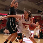 The Drury Lady Panthers' Heather Harman brings the ball up court against Central Missouri at the O'Reilly Family Event Center on November 24, 2015.