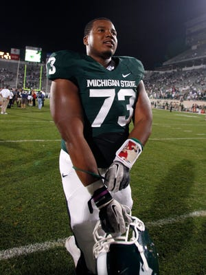 Michigan State offensive lineman Arthur Ray Jr. leaves the field following a 28-6 win over Youngstown State on Sept. 2, 2011, in East Lansing.