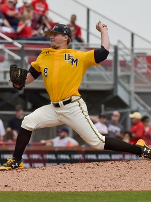 Southern Miss pitcher Kirk McCarty delivers a pitch Saturday during the Golden Eagles' game against Louisiana-Lafayette.