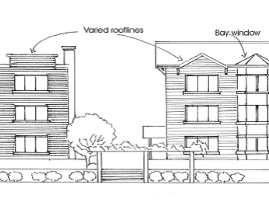 This diagram from Mauldin's altered zoning ordinance illustrates how developers can now build taller structures in the city, provided the added height is for design reasons such as a peaked or varied roof line.