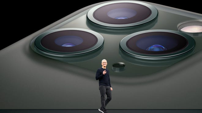 CEO Tim Cook introduces the iPhone 11 Pro.