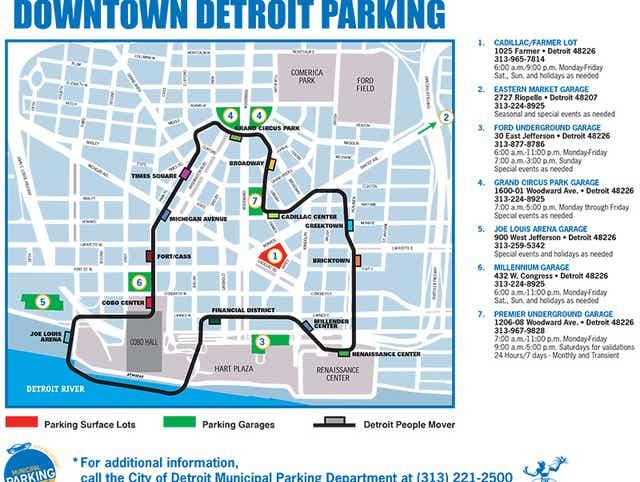 people mover detroit map Detroit Auto Show 2016 Parking Map And Directions people mover detroit map