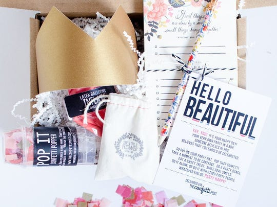 McHugh says her Hello Beautiful box is her biggest seller. Its contents include a greeting card, paper crown, two coral balloons, confetti popper, temporary tattoo, notepad, pencil, spa kit, candle and personalized greeting.
