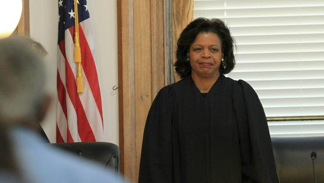 Chief Justice Cheri Beasley presides at a special session of the Supreme Court of North Carolina at New Bern City Hall in New Bern May 15, 2019.