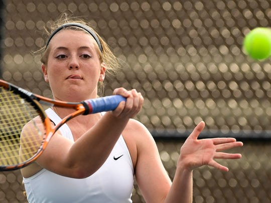 Gibson Southern's No. 1 singles player Rachel Jones returns a shot against Princeton's Keaton Whetstone during a match in Fort Branch Friday, April 14, 2017.