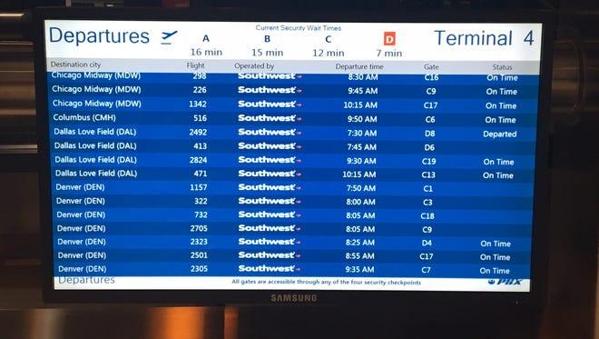 Flight information screens in the terminals at Phoenix Sky Harbor International Airport.