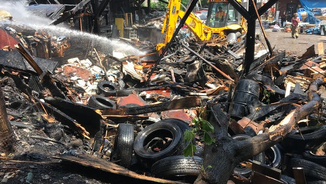 A scrap yard in Newburgh after the city's fire department extinguished a fire on Wednesday.