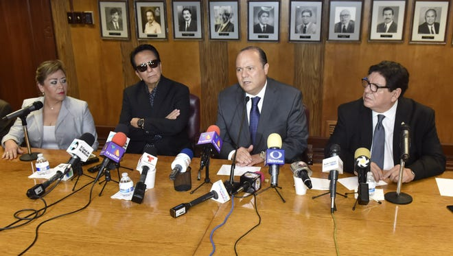 From left, state Rep. Laura Dominguez, Juan Gabriel's longtime friend and representative Jesús Salas, Chihuahua Gov. César Duarte and Juárez Mayor Javier González Mocken on Thursday give details of Saturday's tribute.