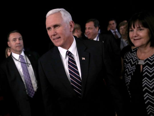 Mike Pence attends the presidential debate at Hofstra