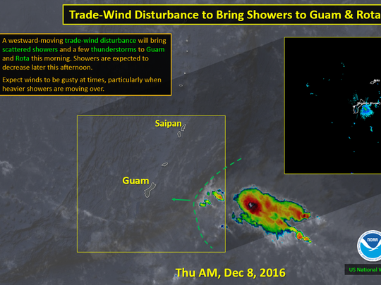 An approaching trade-wind disturbance will bring showers and a few thunderstorms to Guam and Rota this morning.