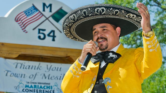 Isreal Cabanas better known as El Charro Noble performs at the grand finale of the International Mariachi Conference Sunday afternoon on the square in Mesilla. The conference returned to Las Cruces this year following a two-year hiatus.
