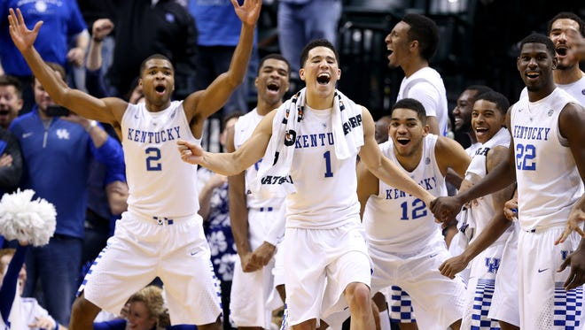 Kentucky Wildcats bench celebrates during the 72-40 win over the Kansas Jayhawks in the State Farm Champions Classic at Bankers Life Fieldhouse on November 18, 2014.