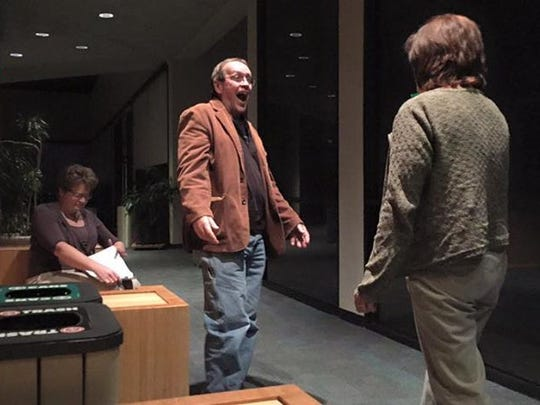 Karen Ray, left, Joel Irvin and Leigh Black Irvin rehearse a scene from the Bottom of the Barrell production of a series of short plays included in 'All Hallow's Eve.'