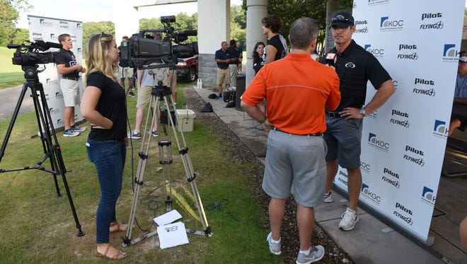 Members of the local media take advantage of the Knoxville Football Officials Association High School Football Media Day to interview local high school players and coaches Friday, Jul. 14, 2017.